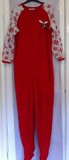 Women's Red And White Winter Reindeer Onesie In Size 8-10