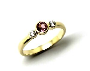 Kaedesigns, Genuine 9ct 9kt Yellow Gold Trilogy & Pink Tourmaline Ring