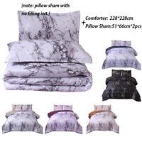 Marble Comforter Set Quilt + Pillowcases Queen Bedding Goose Down Alternative