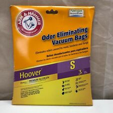 ARM & HAMMER ODOR ELIMINATING VACUUM BAGS - HOOVER S - PACK OF 3  NEW