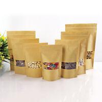 20Pcs Kraft Paper Food Bags With Window Self Sealing Envelope Shopping Gifts Bag