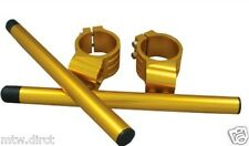 MOTORCYCLE CLIP ON BAR KIT 46mm GOLD PAIR CNC MACHINED CLAMPS & TUBES