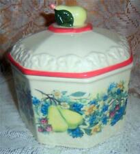 Vintage Avon Sweet Country Harvest Butter Tub Candy Dish Fruit Floral NICE R1