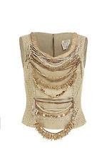 Alma taupe sleeveless beaded top. 1980s - Size Italy 38 (UK 10)