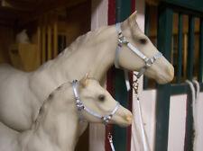 Jaapi BABY BLUE mare & Foal halter set w/leads - fits Breyer traditional models