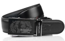 Septwolves Men Belt Real Genuine Leather Auto Lock Buckle Cow Skin Black 1029810