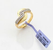 Cubic Zirconia CZ Bold Twisted Ring 14K Yellow Gold