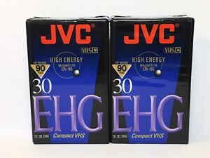 2 New JVC VHS-C TC-30 EHG - 90 Minute Compact VHS High Energy Tape