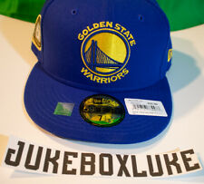 9806e380309db8 Golden State Warriors New Era Fitted Hat 5 Champions Ring Side patch Royal  7 1/