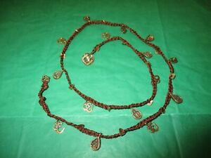 Love Heals Necklace, Hindu/Tibetan Om Aum Symbol and Buddha, Bronzetone Crane