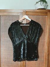 'DKNY Donna Karen' Chocolate Brown Sequin Short Dolman Kimono Sleeve V Neck Silk