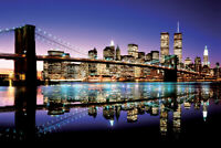 NYC RIVER 36434 NEW YORK CITY BLACK AND WHITE SKYLINE POSTER 24x36