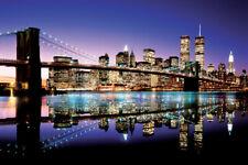 BROOKLYN BRIDGE NYC SKYLINE TWIN TOWERS NEW YORK CITY 24X36 POSTER COLORFUL GIFT