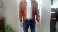 """Tan leather 70's mens bomber jacket size 44"""" more like 38"""""""