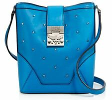 MCM Claudia Mini Hobo Bucket bag Studded Leather Tile Blue