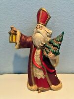 Vintage Ceramic Saint Nicholas Holding Lantern and Tree JS 1991