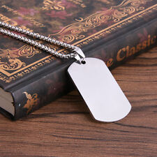 Stainless Steel Charm Jewelry Mens Military Dog Tag Pendant Chain Necklace Hot