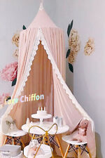 Girls Kids Pink Lace Trim Elegant Chiffon Canopy Summer Nursery Decoration