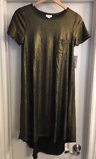 LuLaRoe XS Elegant Collection Black Gold Metallic Carly Dress Holiday Vintage 🦄