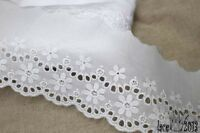 """14Yds Broderie Anglaise cotton eyelet lace trim 3""""(7.5cm) white YH841 laceking"""