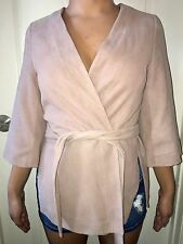 NEW $595 INTERMIX EXCLUSIVE PINK GENUINE SUEDE LEATHER WRAP KIMONO SIZE PETITE S