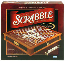 NEW SCRABBLE DELUXE PREMIER WOOD EDITION GAME W/ ROTATING GAME BOARD