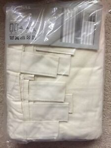 """IKEA Curtains Drapes BOMULL Unbleached Cotton Tab Top 57"""" X 98 Oatmeal BNIP"""
