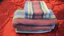 "3pc Bath Towel 29x46"" & 2 Washcloths Set Whole Home 100% cotton Striped Pakistan"
