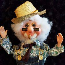 "Vtg. 13"" Hard Plastic FARMER Man DOLL Wired Arms-Pipe HANDMADE Old MacDonald?"