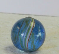 #11847m Vintage German Handmade Colored Glass Swirl Marble .65 Inches