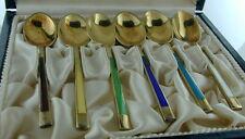 6 Meka Sterling Silver Enamel Spoons Denmark in Case