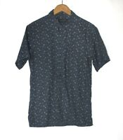 AllSaints Size S Blue Floral Button Front Short Sleeve Linen Blend Rosid Shirt