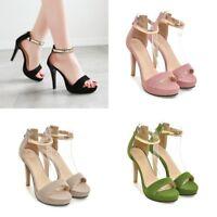 Fashion Women Ankle Strap Slim High Heels Platform Peep Toes Casual Zipper Shoes