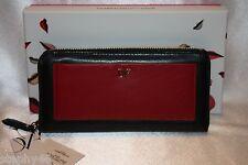 NEW! DIANE VON FURSTENBERG Red Black Leather VOYAGE Zip Clutch Wallet Boxed $175