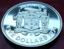 HUGE SILVER PROOF GEM COIN 37.8g 42mm 1974 JAMAICA PROOF $5 FIVE DOLLAR, Manley