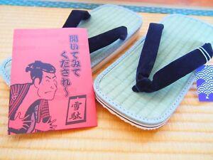 Setta Zori Japonais Sandales Igusa Tatami Ruée Fabriqué en Japon TAILLE M - 4L