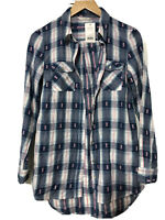 George Womens Shirt Long Sleeve Checked Blue  Size 8 36 New Witg Tags (D122)