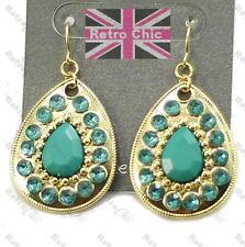 GOLD/TURQUOISE green RETRO TEARDROP EARRINGS boho RHINESTONE facet bead DROP