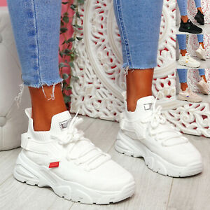WOMENS LADIES CHUNKY TRAINERS LACE SNEAKERS SOCK PLATFORM WOMEN SHOES SIZE