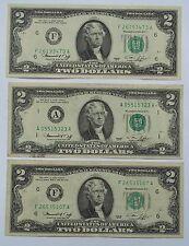 3 1976 $2 BILLS. 2 Atlanta. 1 Boston. CIRCULATED.