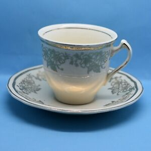 Lovely Vintage Alfred Meakin Ivory Cream and Gold Demitasse Small Cup and Saucer