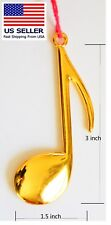 Christmas Ornament, Music Note  Eighth, Solid Metal Gold