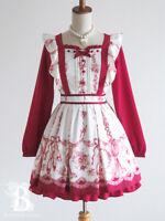 🌹LIZ LISA🌹Ballet Rabbit One Piece Dress LaceUp Bordeaux Hime Lolita Japan E899