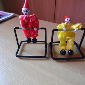 2 x Kinetic Perpetual Spinning Clowns 1970's/1980's