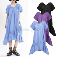 Women Short Sleeve Kaftan Casual Beach Dresses Ladies Midi Dress Summer Sundrss
