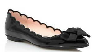 KATE SPADE NEW YORK AUTH $399 Women Black Patent Leather Nannete Flat Shoes 5.5