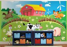 Mural wallpaper 320x230cm Animals Farm nursery feature wall photo murals green
