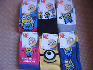 Ladies Minion socks, size 4-8, 6 designs