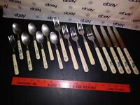 HEARTLAND 16 PC. FLATWARE SET PATTERN ON HANDLE STAINLESS TAIWAN