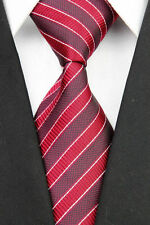 Hand Woven 100% Pure Silk Neck Tie with Light & Dark Red Diagonal Stripes